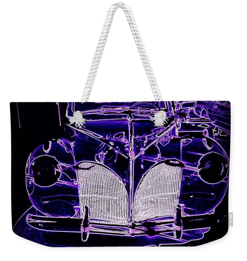 1941 Weekender Tote Bag featuring the digital art 41 Lincoln In Neon by Bobbee Rickard
