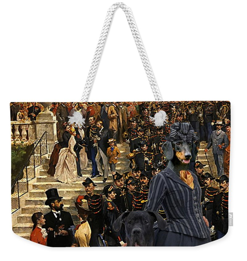 Dachshund Weekender Tote Bag featuring the painting Dachshund Art Canvas Print by Sandra Sij