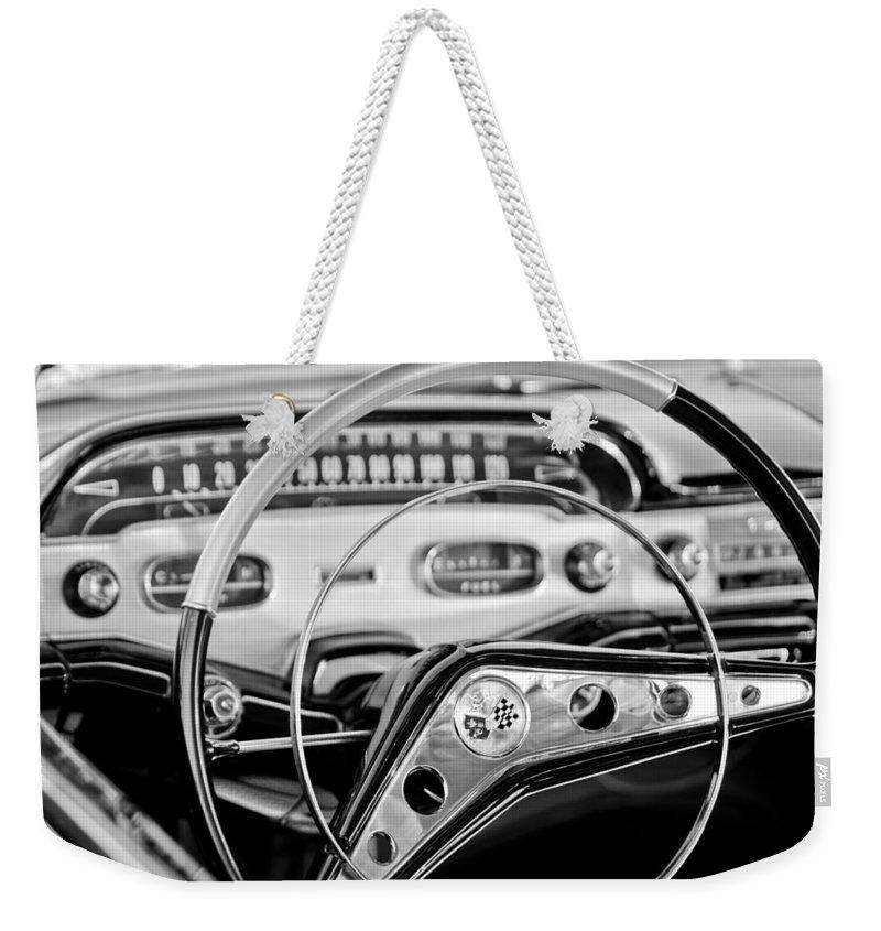 1958 Chevrolet Impala Steering Wheel Weekender Tote Bag featuring the photograph 1958 Chevrolet Impala Steering Wheel by Jill Reger