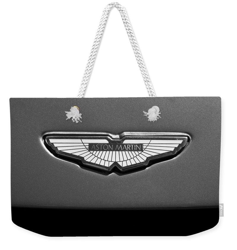 Aston Martin Emblem Weekender Tote Bag featuring the photograph Aston Martin Emblem 5 by Jill Reger