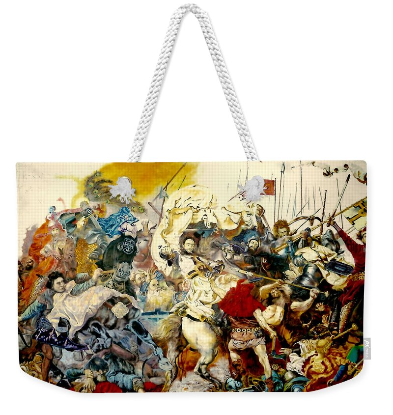 Henryk Weekender Tote Bag featuring the painting Battle Of Grunwald by Henryk Gorecki