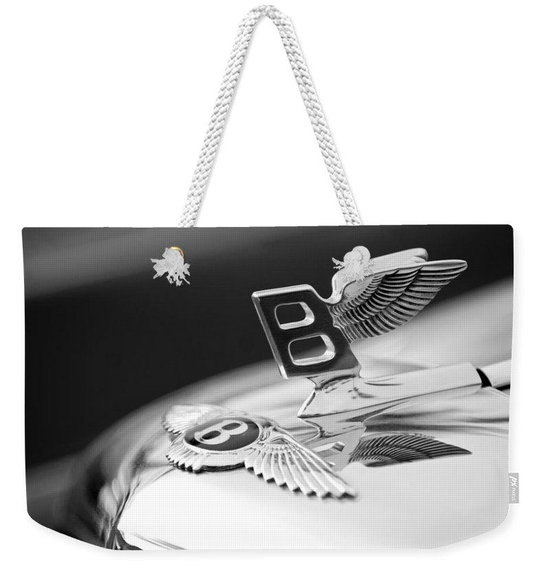Bentley Hood Ornament Weekender Tote Bag featuring the photograph Bentley Hood Ornament by Jill Reger
