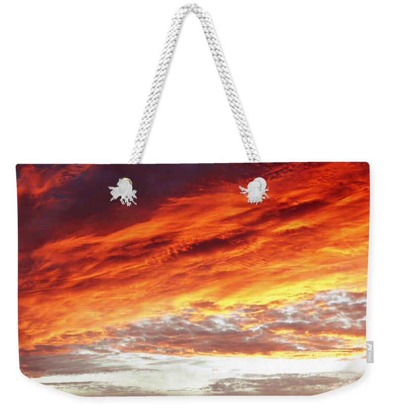 Clouds Weekender Tote Bag featuring the photograph Bright Sky by Les Cunliffe
