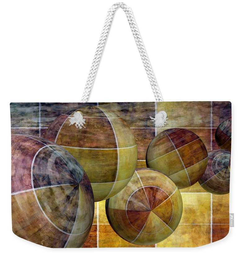 Abstract Weekender Tote Bag featuring the mixed media 5 By 5 Gold Worlds by Angelina Tamez
