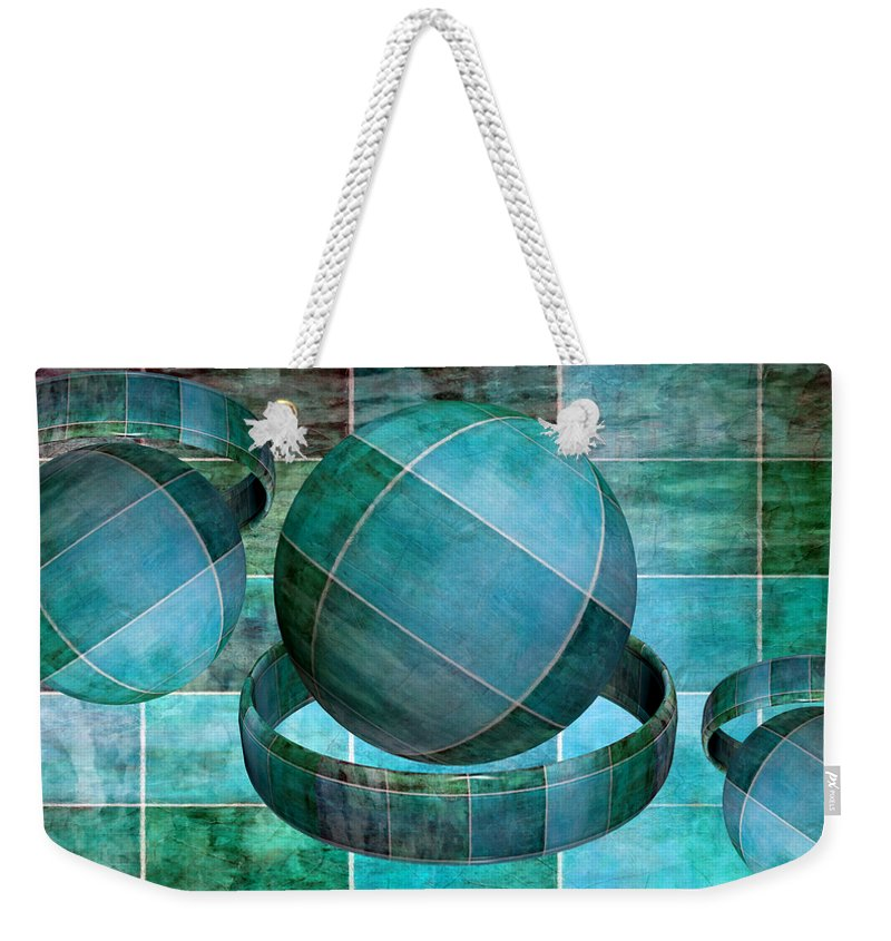 Abstract Weekender Tote Bag featuring the mixed media 5 By 5 Ocean Geometric Shapes by Angelina Tamez
