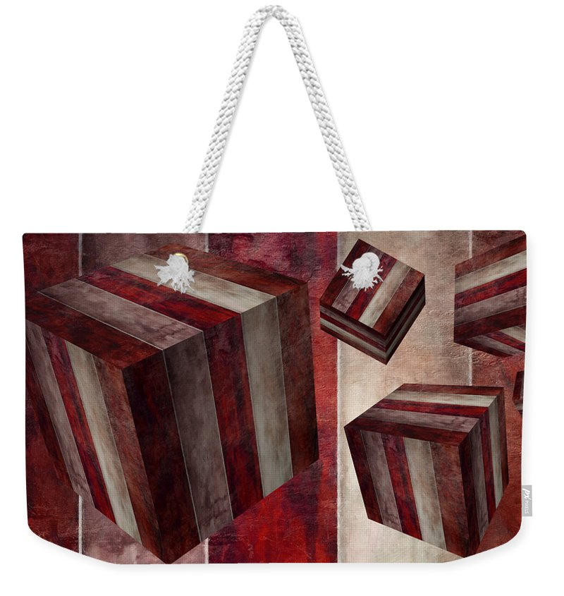 Abstract Weekender Tote Bag featuring the digital art 5 Fire Cubed by Angelina Tamez