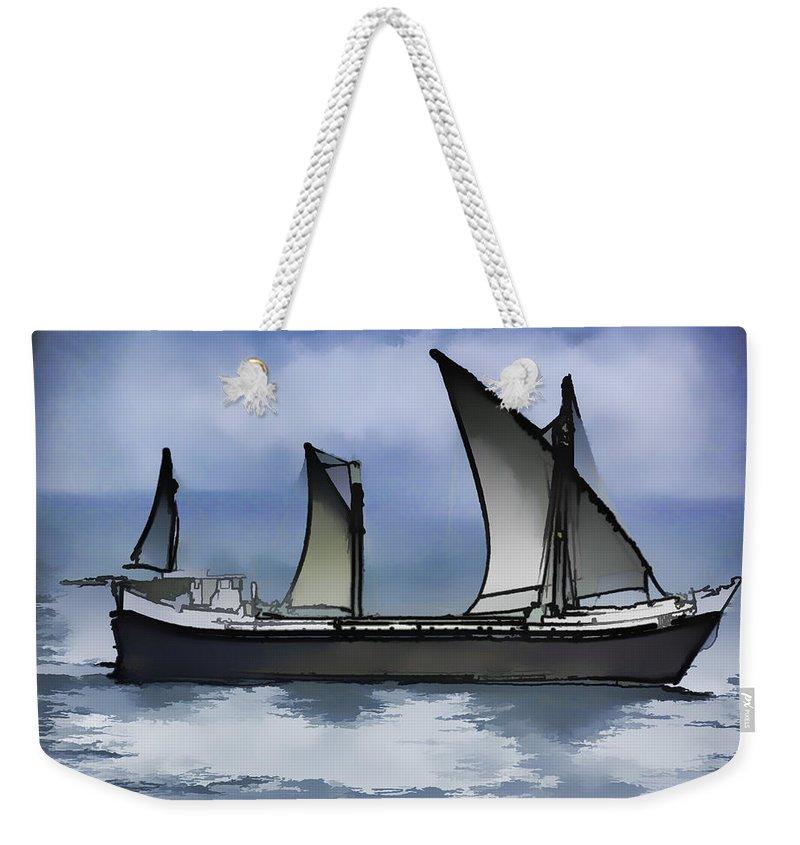 Action Weekender Tote Bag featuring the digital art Fishing Vessel In The Arabian Sea by Ashish Agarwal