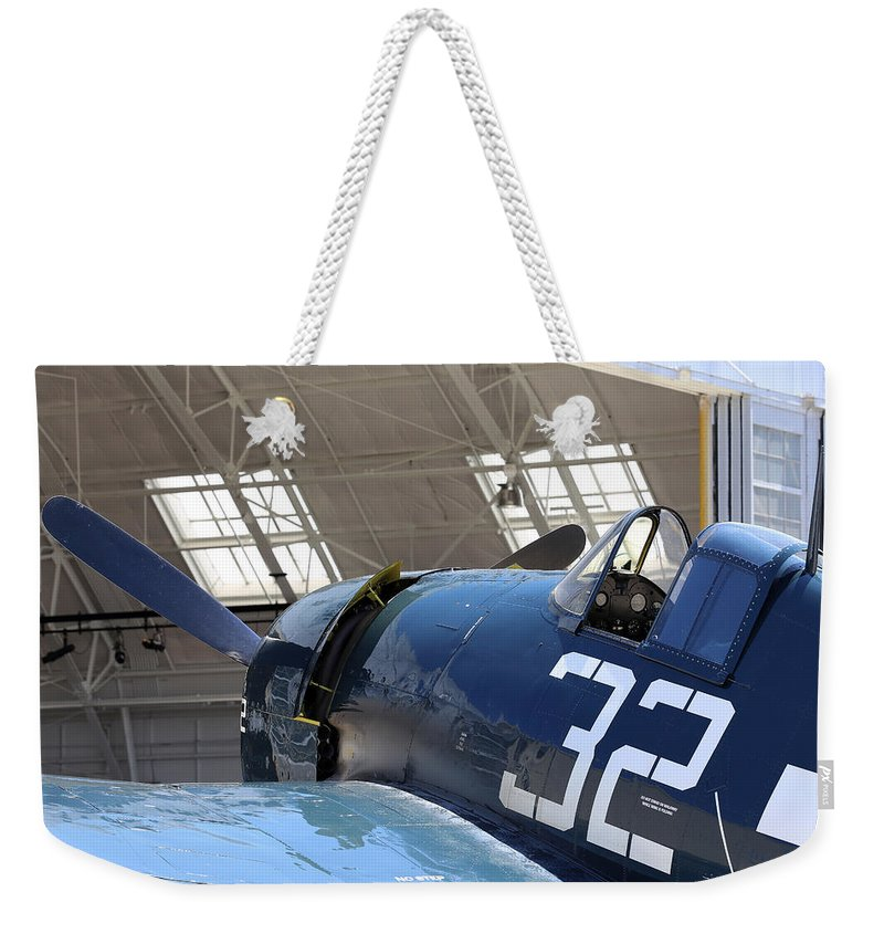 Grumman Weekender Tote Bag featuring the photograph Grumman Hellcat by Paul Fell