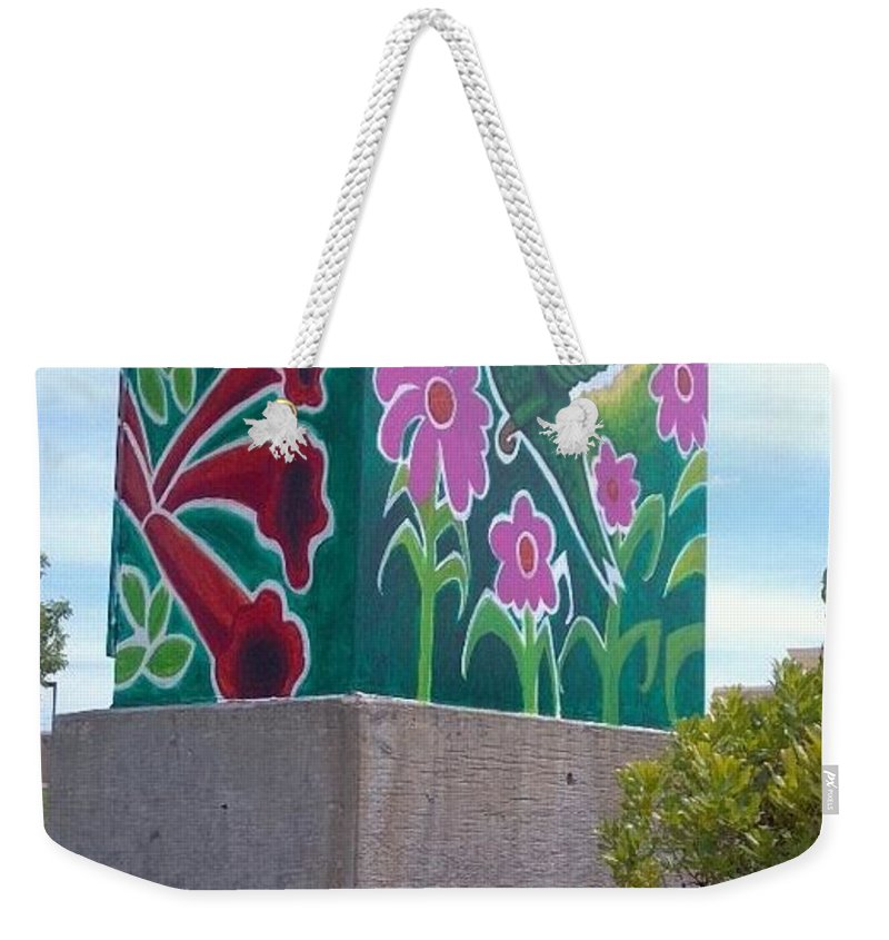 Hummingbird Weekender Tote Bag featuring the painting Hummingbird Traffic Signal Box by Genevieve Esson