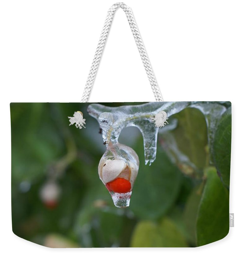 Ice Weekender Tote Bag featuring the photograph Ice by Heidi Poulin
