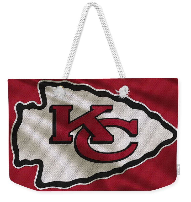 Chiefs Weekender Tote Bag featuring the photograph Kansas City Chiefs Uniform by Joe Hamilton