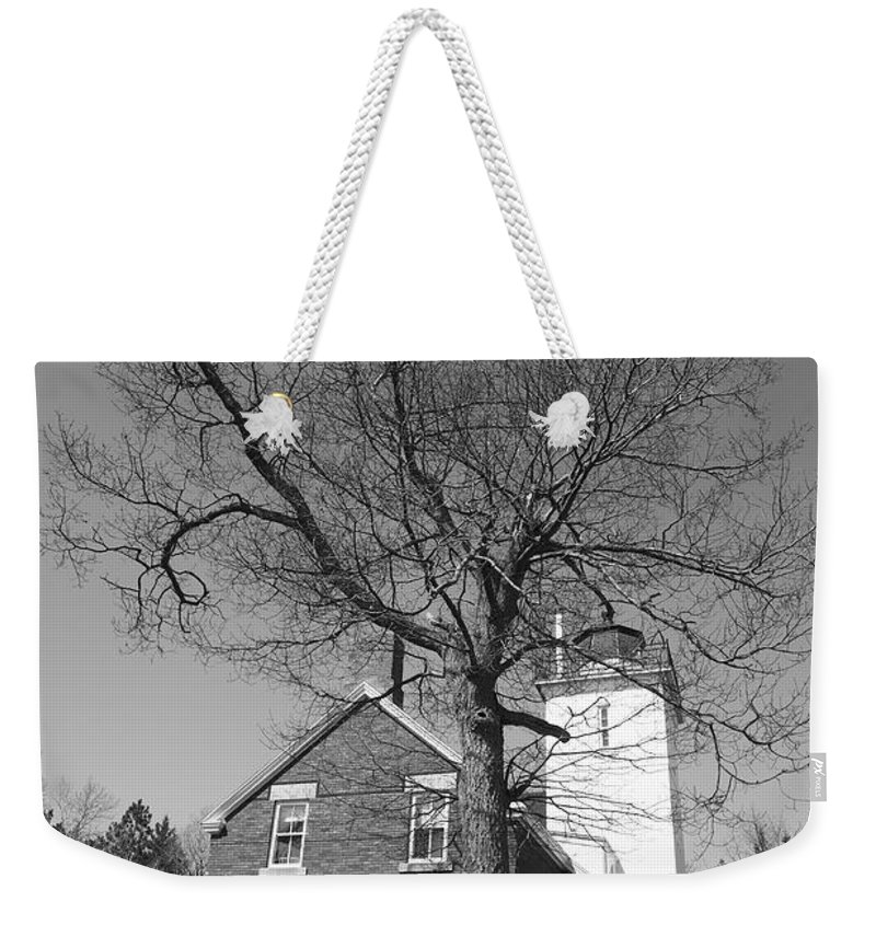 40 Weekender Tote Bag featuring the photograph Lighthouse - 40 Mile Point Michigan by Frank Romeo