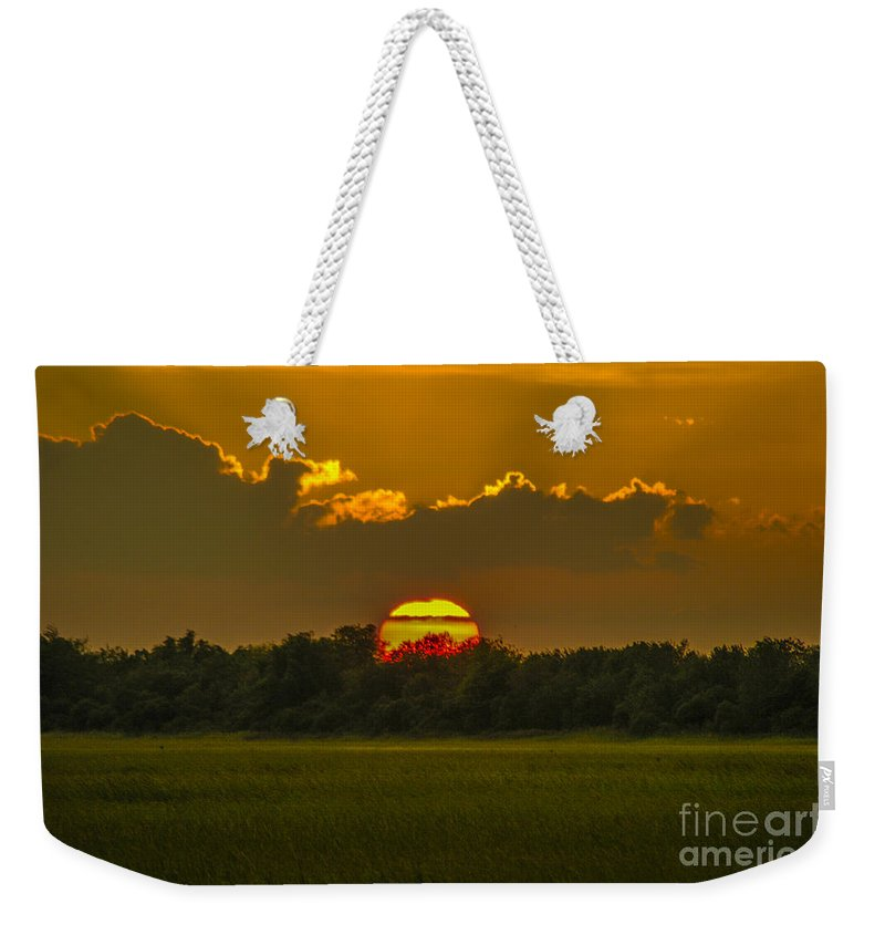Sunset Weekender Tote Bag featuring the photograph Lowcountry Sunset Over The Marsh by Dale Powell