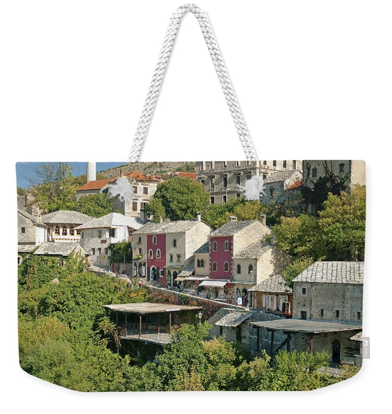Town Weekender Tote Bag featuring the photograph Mostar In Bosnia Herzegovina by Jacek Malipan