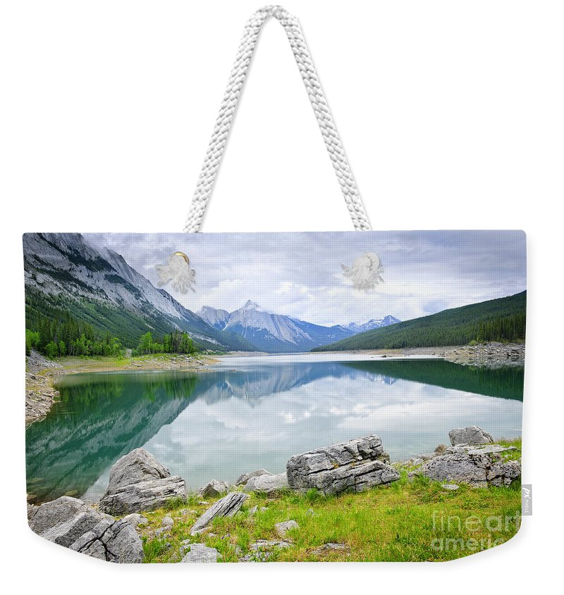 Jasper Weekender Tote Bag featuring the photograph Mountain Lake In Jasper National Park by Elena Elisseeva