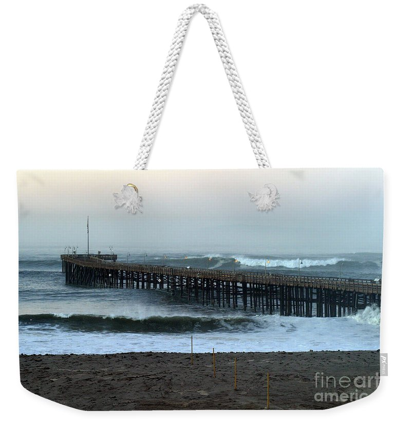 Sunrise Weekender Tote Bag featuring the photograph Ocean Wave Storm Pier by Henrik Lehnerer
