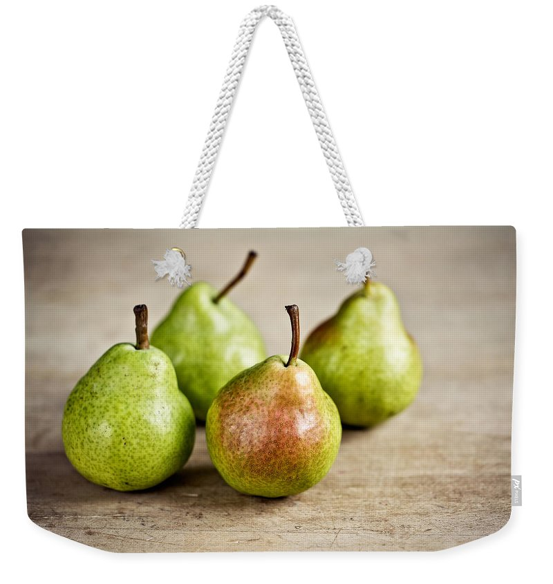 Pear Weekender Tote Bag featuring the photograph Pears 5 by Nailia Schwarz