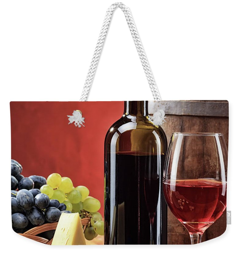 Cheese Weekender Tote Bag featuring the photograph Red Wine Composition by Valentinrussanov