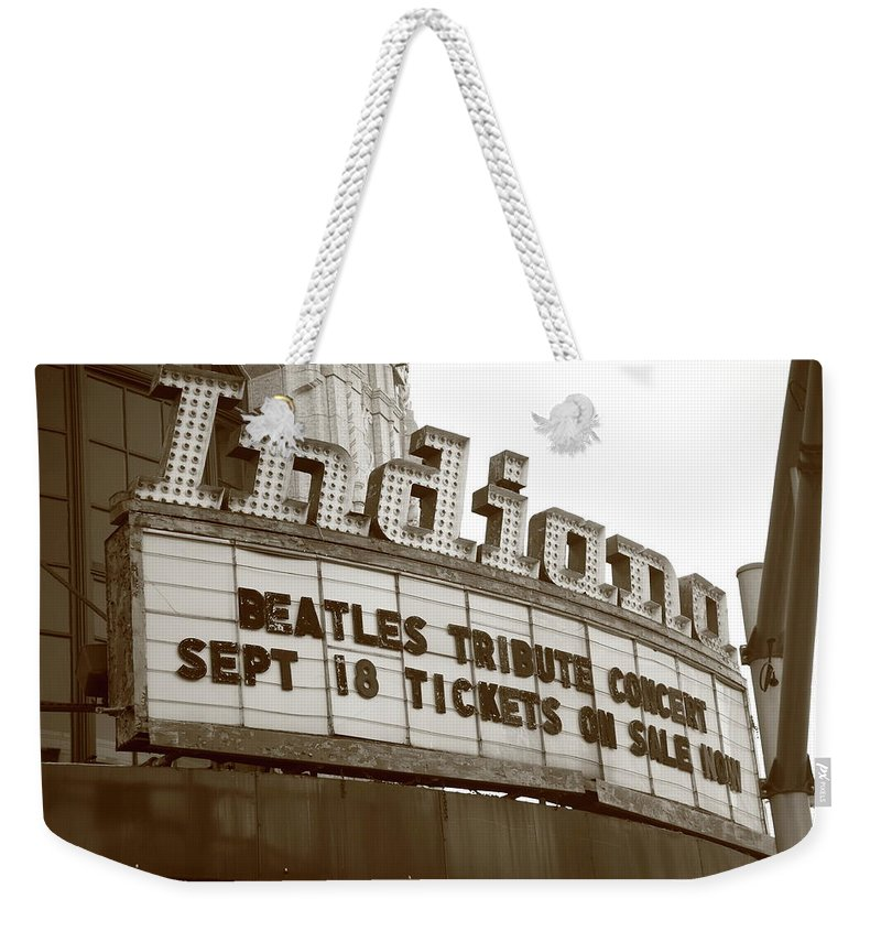 America Weekender Tote Bag featuring the photograph Terre Haute - Indiana Theater by Frank Romeo