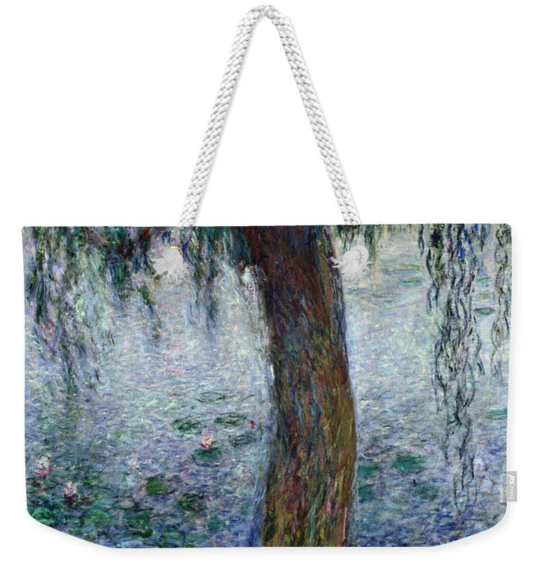 Impressionist Weekender Tote Bag featuring the painting Waterlilies Morning With Weeping Willows by Claude Monet