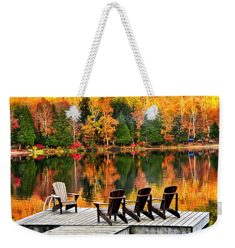 Lake Weekender Tote Bag featuring the photograph Wooden Dock On Autumn Lake by Elena Elisseeva