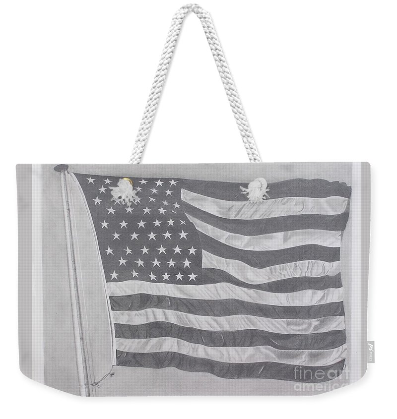 Flag Weekender Tote Bag featuring the pastel 50 Stars 13 Stripes by Wil Golden