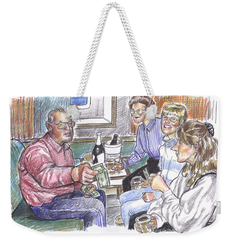 Family Weekender Tote Bag featuring the drawing 50th Anniversary Cruise by Douglas Simonson