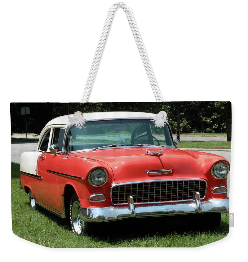 55 Weekender Tote Bag featuring the photograph 55 Chevy by Frank Romeo