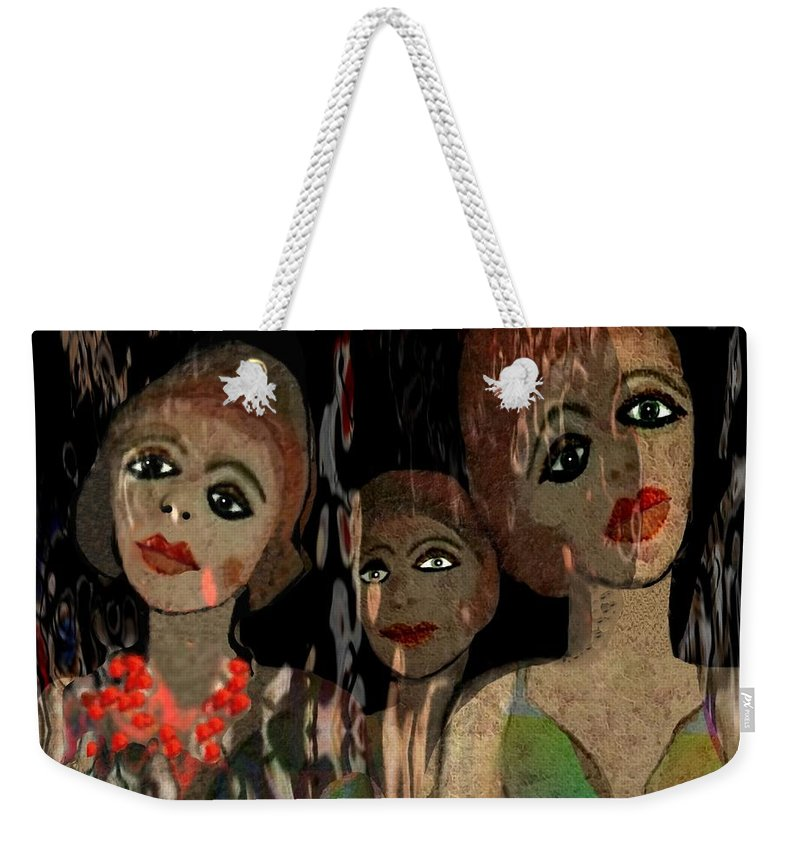 Girl Weekender Tote Bag featuring the digital art 562 - Three Young Girls  by Irmgard Schoendorf Welch