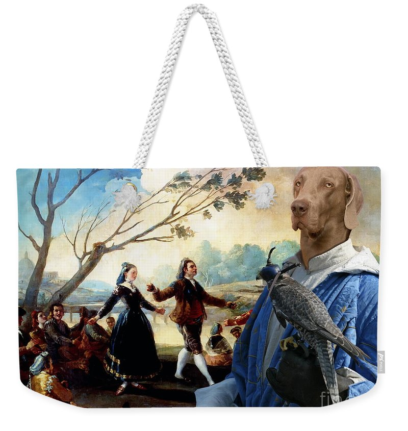 Weimaraner Weekender Tote Bag featuring the painting Weimaraner Art Canvas Print by Sandra Sij