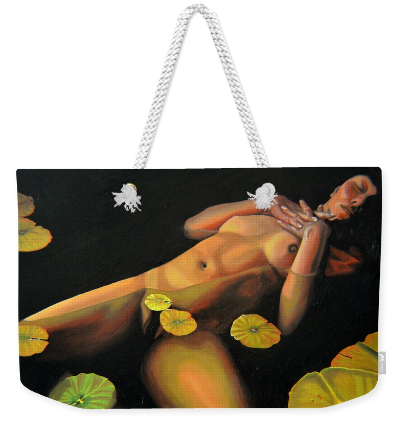 Sexual Weekender Tote Bag featuring the painting 6 30 A.m. by Thu Nguyen