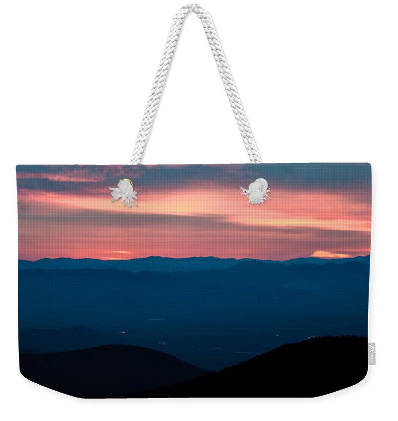 View Weekender Tote Bag featuring the photograph Blue Ridge Parkway Scenic Mountains Overlook by Alex Grichenko