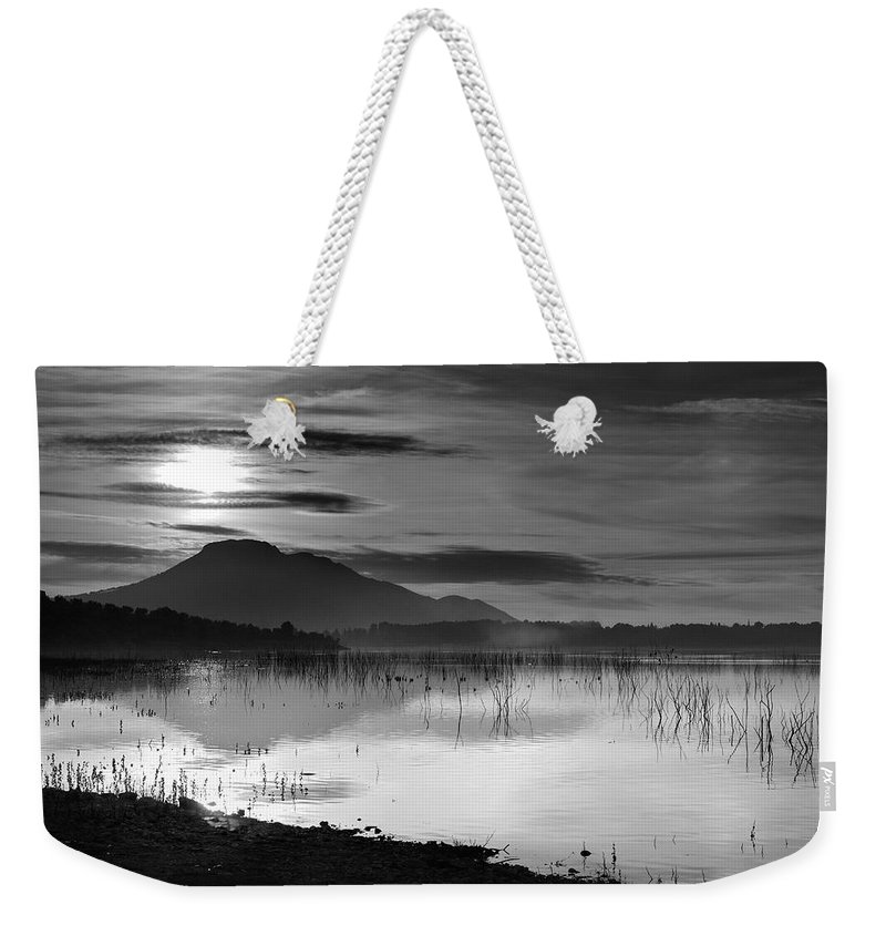 Lake Weekender Tote Bag featuring the photograph Calm Sunset by Guido Montanes Castillo