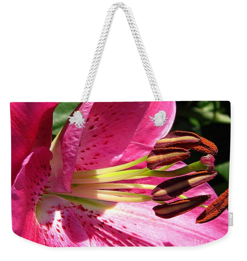 Dwarf Weekender Tote Bag featuring the photograph Dwarf Oriental Lily Named Farolito by J McCombie