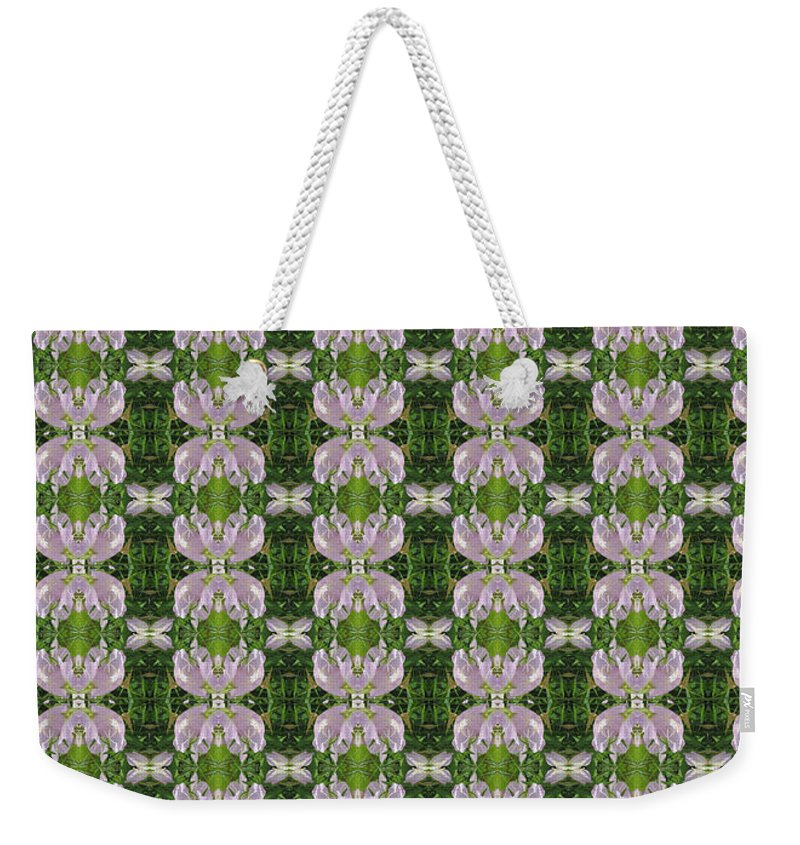 Heart Weekender Tote Bag featuring the photograph Flowers From Cherryhill Nj America Silken Sparkle Purple Tone Graphically Enhanced Innovative Patter by Navin Joshi