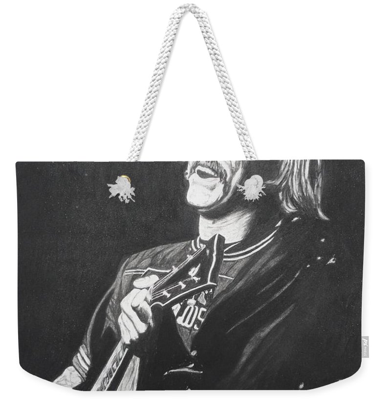 Jimmy Buffet Weekender Tote Bag featuring the drawing Jimmy Buffet 1975 by Charles Rogers