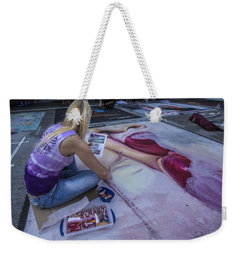 Florida Weekender Tote Bag featuring the photograph Lake Worth Street Painting Festival by Debra and Dave Vanderlaan