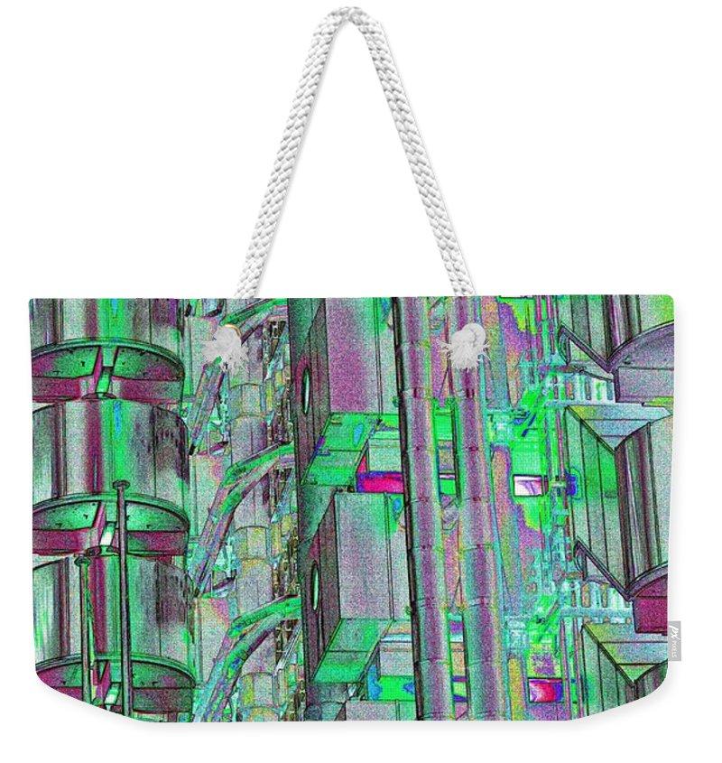 Abstract Weekender Tote Bag featuring the digital art Lloyd's Building London Art by David Pyatt