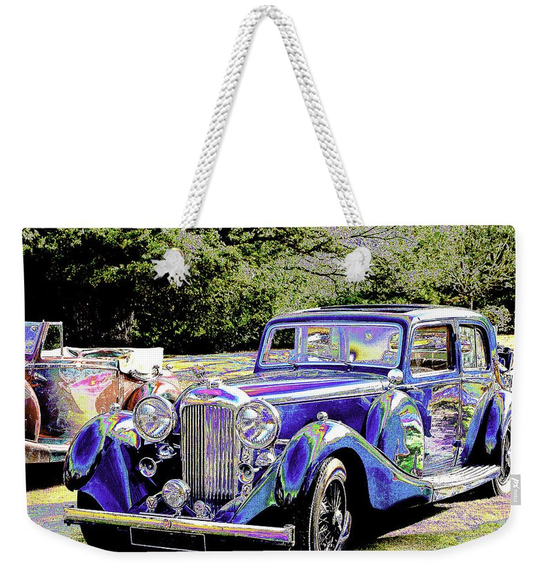 Psychedelic Weekender Tote Bag featuring the photograph Psychedelic Classic Lagonda by Peter Lloyd