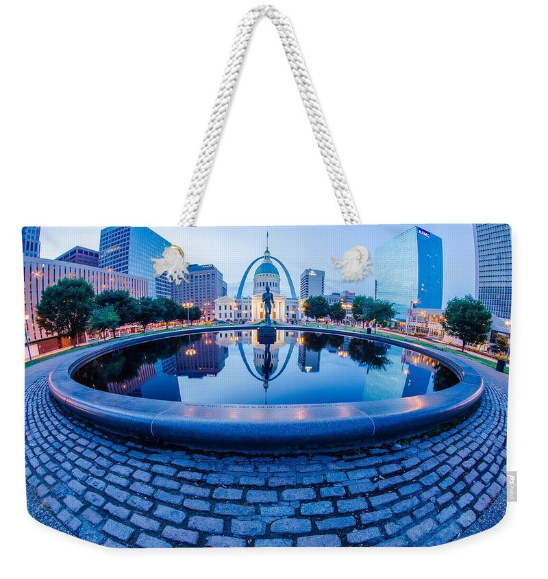 Arch Weekender Tote Bag featuring the photograph St. Louis Downtown Skyline Buildings At Night by Alex Grichenko