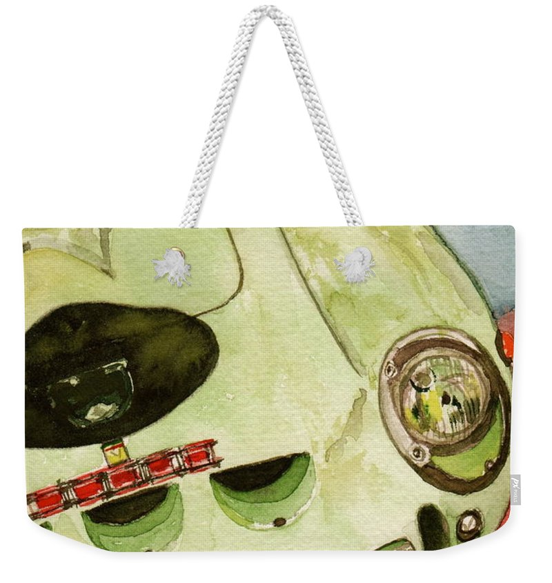 1962 Weekender Tote Bag featuring the painting 62 Ferrari 250 Gto Signed By Sir Stirling Moss by Anna Ruzsan
