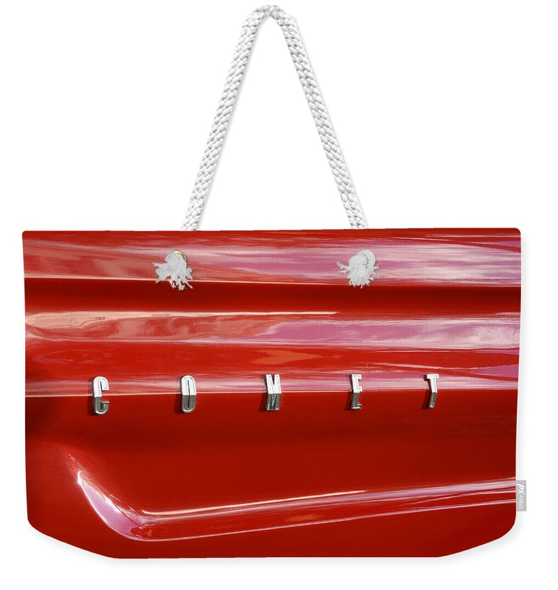 1964 Ford Comet Weekender Tote Bag featuring the photograph 64 Red Comet by David Lee Thompson