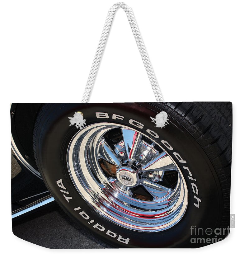 1967 Weekender Tote Bag featuring the photograph 67 Black Camaro Ss Kragar Ta-8039 by Gary Gingrich Galleries