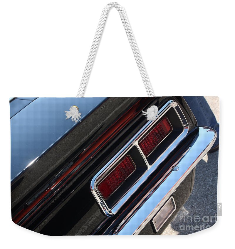 1967 Weekender Tote Bag featuring the photograph 67 Black Camaro Ss Tail Light-8020 by Gary Gingrich Galleries