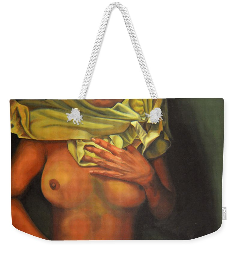 Sexual Weekender Tote Bag featuring the painting 7 30 A.m. by Thu Nguyen