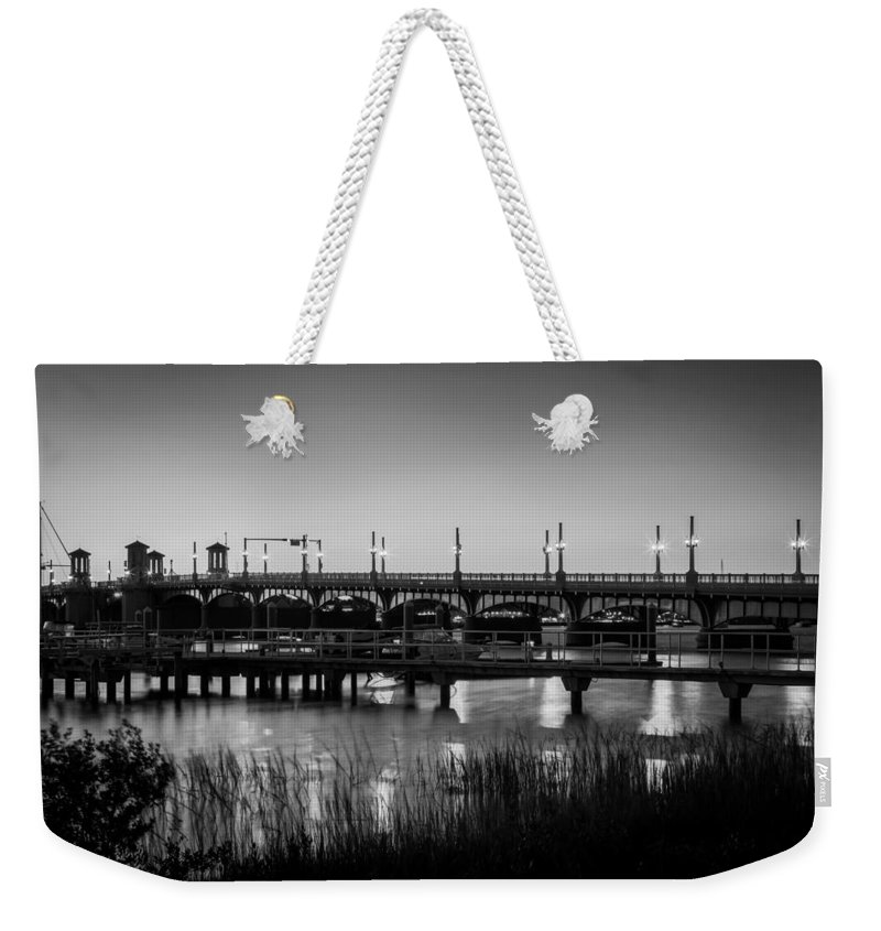 Bridge Of Lions Weekender Tote Bag featuring the photograph Bridge Of Lions St Augustine Florida Painted Bw by Rich Franco