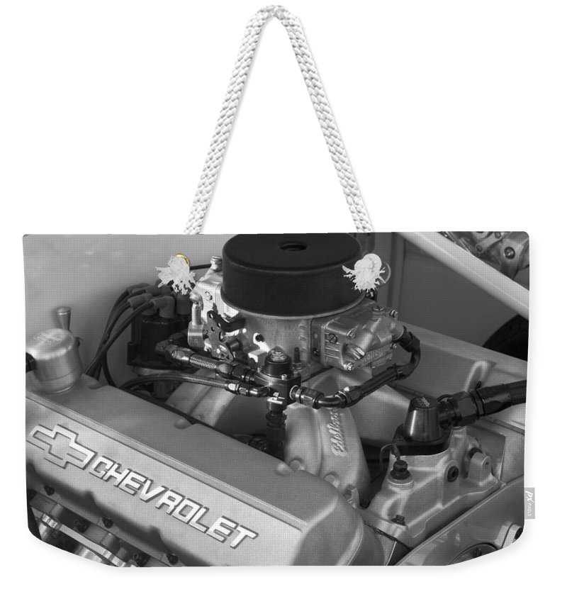 Chevrolet Engine Weekender Tote Bag featuring the photograph Chevrolet Engine by Jill Reger