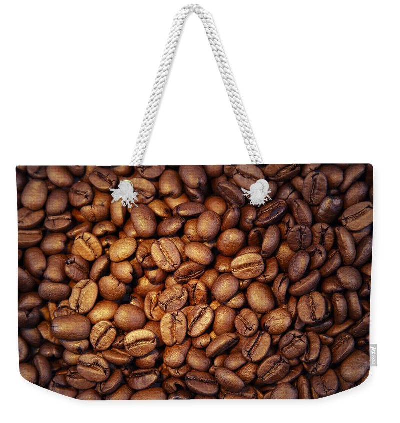 Bean Weekender Tote Bag featuring the photograph Coffee Beans by Les Cunliffe