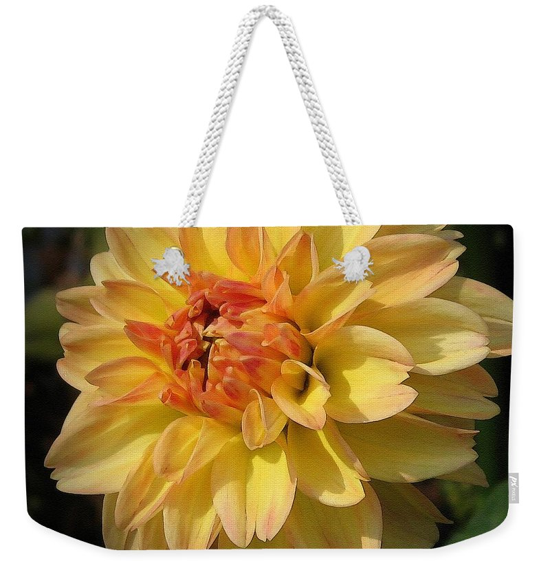 Dahlia Weekender Tote Bag featuring the painting Dahlia Named Brandon James by J McCombie