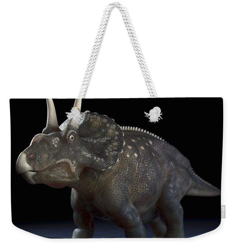 Extinction Weekender Tote Bag featuring the photograph Dinosaur Diceratops by Science Picture Co